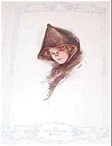 Harrison Fisher Antique Art Print- Beautiful Lady In Cloak