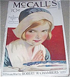 Vintage Mccalls Magazine Art Cover Praying Girl James C Smith