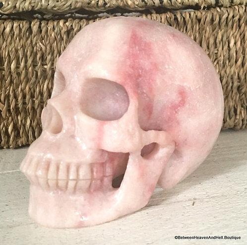 3Lb Activated Glassy Large Pink Aragonite Snow Quartz Skull w/ Crystal Cluster