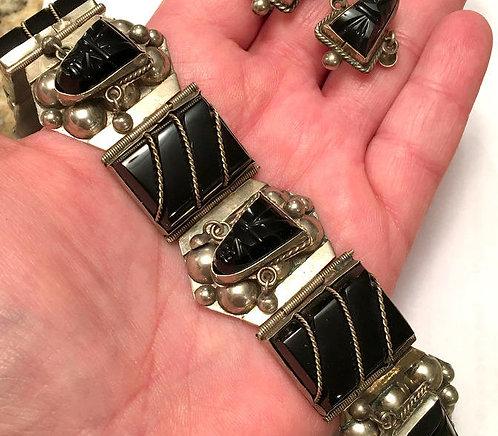 Vintage Black obsidian Sterling Silver Bracelet and Earrings - carved faces