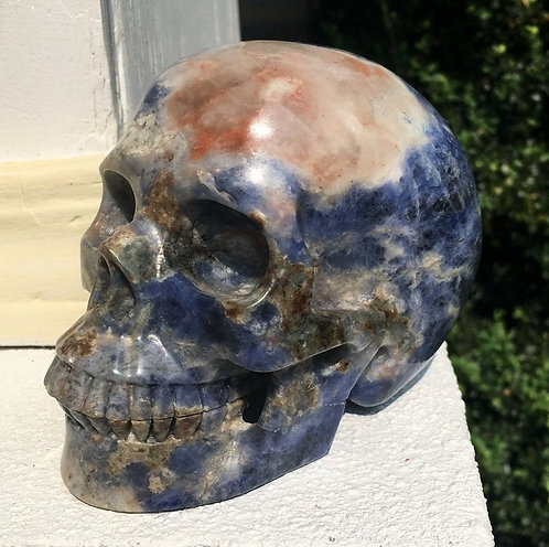 "Activated 5.2"" Large Sunset Sodalite Crystal Skull - positive Energy, Cleansing"