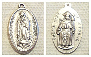 Vintage Medal Our Lady Of Guadalupe Santo Nino Pendant