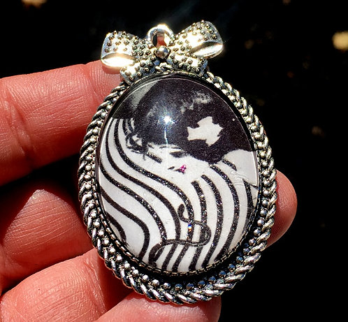 Large Altered Art Glitter Cameo Pendant Lady with Snake Jewelry
