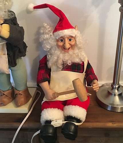 Vintage Telco Animated Christmas Elf, Electric Motionette Doll Santas Workshop