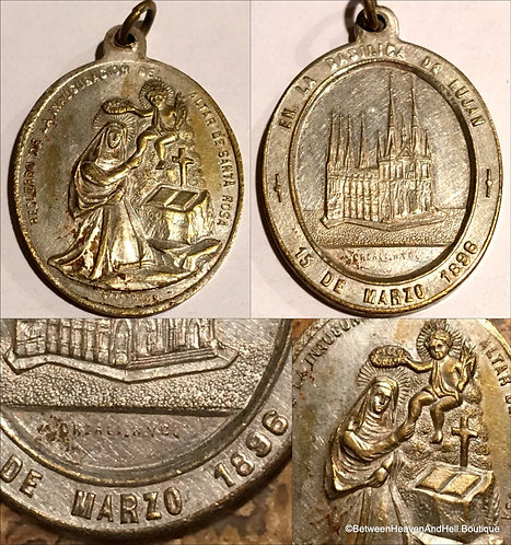 1896 Rare Antique Medal Saint Rose Of Lima Angel Crown Roses, Religious Jewelry