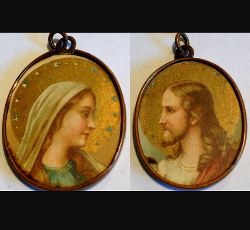 Vintage Catholic Holy Medal Virgin Mary Jesus Christ Pendant Religious Jewelry