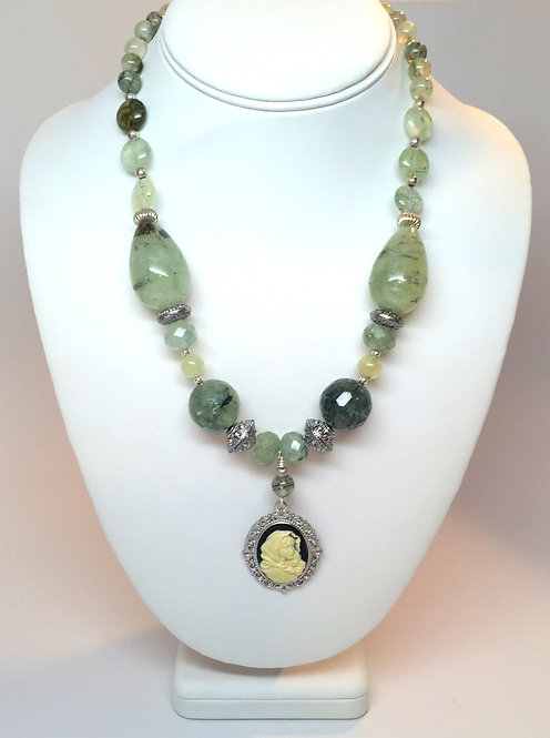 OOAK Prehnite Gemstone Necklace, Madonna and Child, Upcycled Jewelry