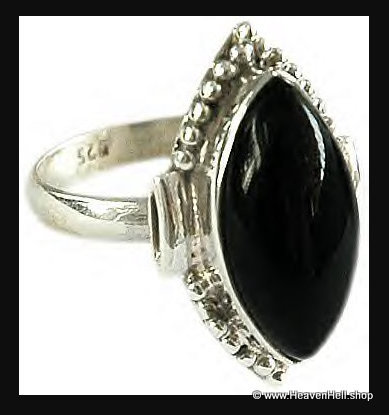 Rings: Black Onyx Marquis Sterling Silver Ring Size 9, unisez silver jewelry
