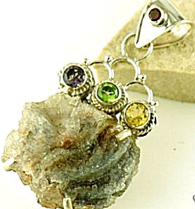Drusy Agate & Amethyst Citrine Sterling Silver Pendant