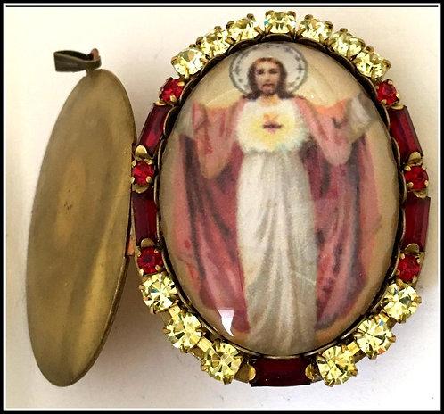 Vintage Large Rhinestone Jesus Cameo Locket Prayer Petition Pendant, Handcrafted