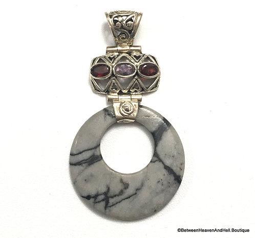 Handcrafted Gray and Black Picasso Jasper Sterling Pendant, Positive Energy