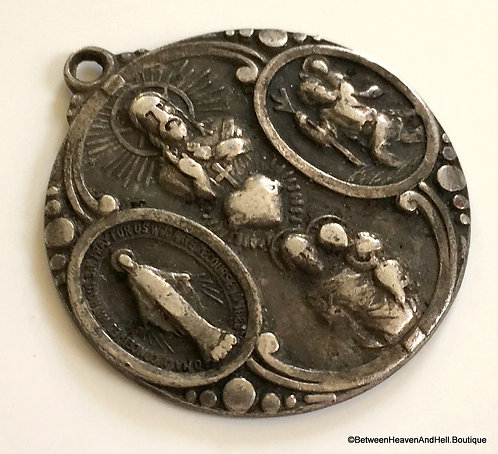 "1"" Vintage Art Deco Sterling Silver 4 Way Medal Sacred Heart Virgin Mary Saints"
