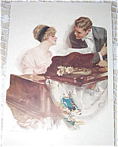 Vintage Music Prints: Lady Playing Piano Harrison Fisher Print