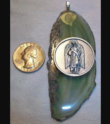 Long Green Agate Slice Pendant Archangel Angel Jewelry Handcrafted