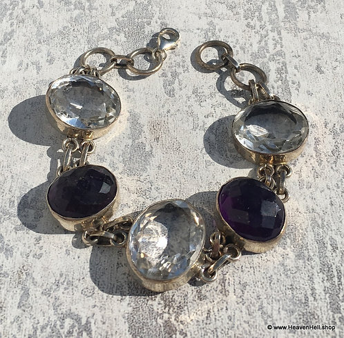 Vintage Chunky White Topaz and Purple Amethyst Bracelet Silver Jewelry