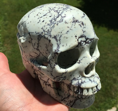 "5"" Rare Activated Large Realistic baby Blue Turquoise Crystal Skull -Power, Luck"