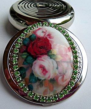 Round Pill Box Porcelain Rose Center Rhinestones