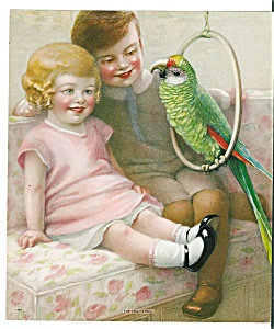 Children Print; Boy And Girl With Parrot