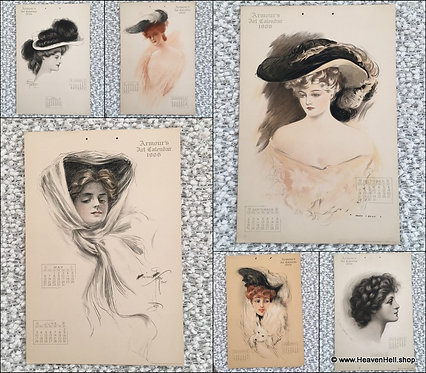 Antique Armours Art Calendar 1906 Allen Gilbert Harrison Fisher Mitchell Pierce