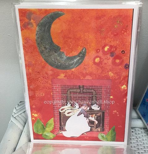 Midnight Moonlight Fairy Cooking Under Crescent Moon Art Print Kitchen Decor