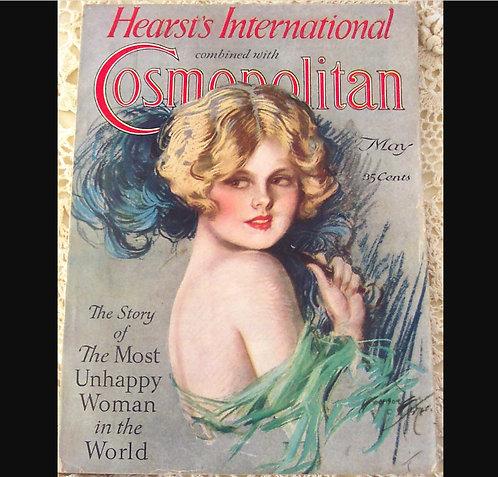 1927 Vintage Cosmopolitan Magazine Harrison Fisher Cover Art Deco Flapper print