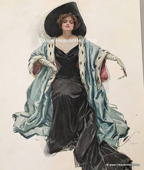 Vintage Harrison Fisher Print My Queen, Edwardian Woman at the Opera