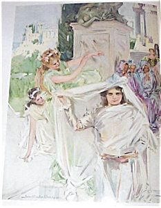 Howard Chandler Christy Print: Religious Gathering, Wedding, Bride