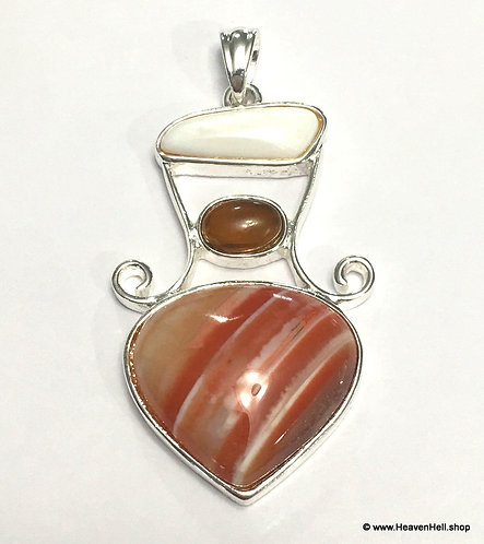 Vintage Red Lace Agate Pendant with Amber and Shell Silver Jewelry