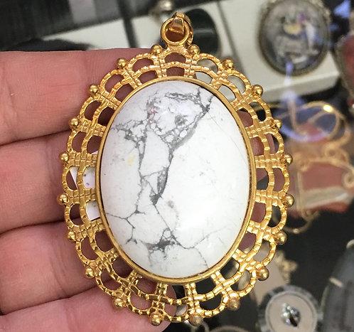 "3"" Large Howlite Pendant: Wisdom & Insight Aura Jewelry: Yellow Gold plated"