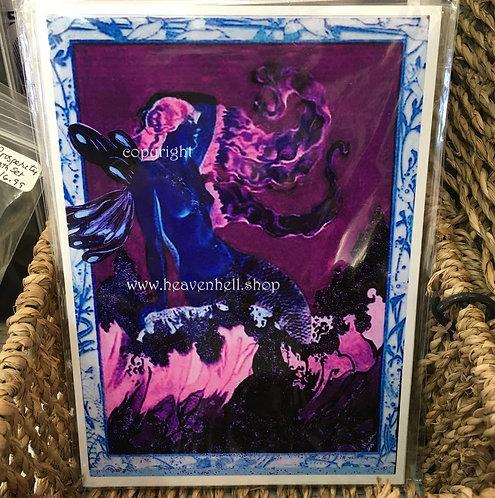 Semi-nude Midnight Moonlight Mermaid Fairy Art Print 5x7 Accent Wall decor
