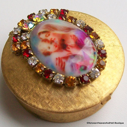 Vintage Rhinestone Cameo Pill Rosary Box Mother Mary Jesus Madonna