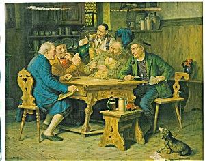 Antique Tavern Print Men Pipes Beer Steins Card Game