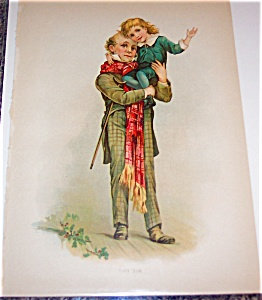 Vintage Christmas Print Antique Tiny Tim