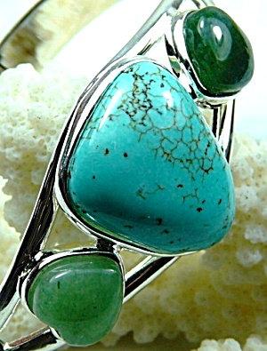 115ct Turquoise Cuff Bracelet Sterling Silver, Green Aventurine