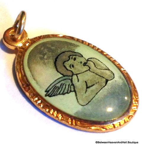Religious Jewelry, Vintage Enamel Angel Charm Cherub Pendant