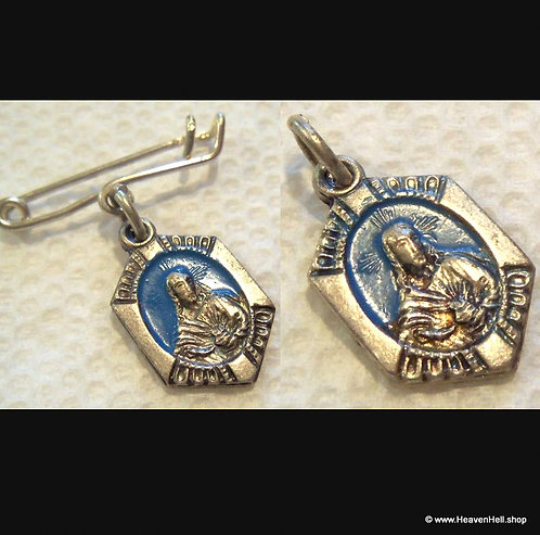 Vintage Enamel Pin & Medal Pendant Sacred Heart Scapular Religious Jewelry