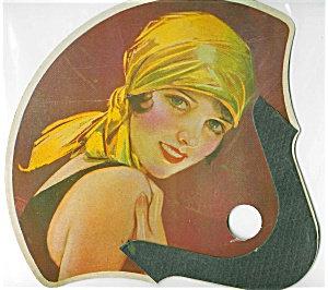 Art Deco Era Lady Print: Flapper: Paper Fan: Head Scarf