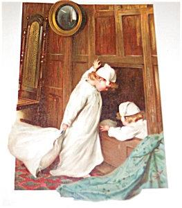 Antique Victorian Children Print, German Boys