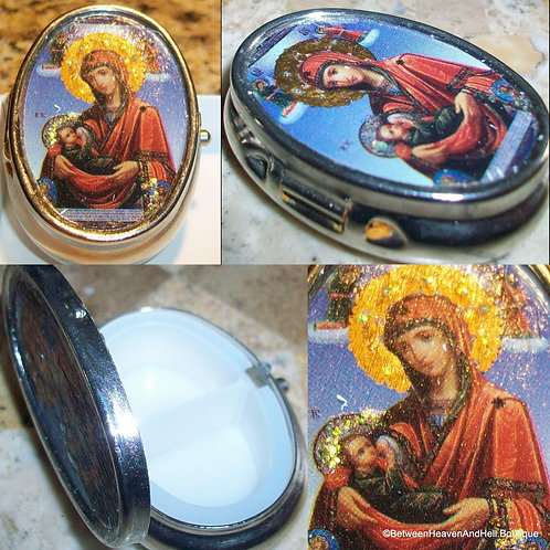 Vintage Virgin Mary Religious Rosary Case / Pill Box Madonna and Child Jesus