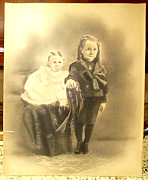 Antique 1800's Victorian Children Girl Charcoal Painting Drawing