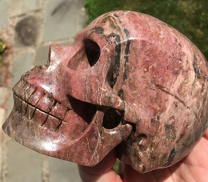 Large Activated Rose Pink Rhodonite Crystal Skull - Realistic Sculpture