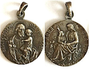 Antique Sterling France Medal Saint Anne Mary Joseph Jesus