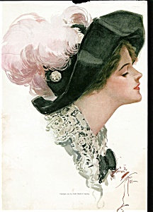 Harrison Fisher Print: Fine Feathers: Lady In Big Hat