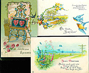 Antique Greeting Postcards: Lot Of 3 : Birds