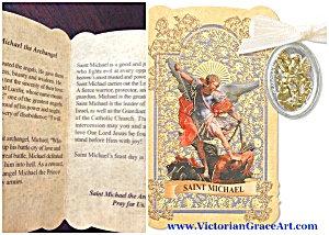 Archangel Saint Michael 2 Tone Charm Medal Prayer Folder