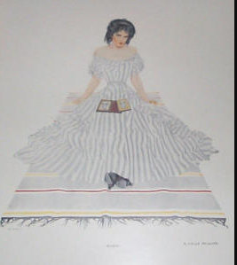 1910's Vintage Coles Phillips Fade Away Girl Print Victorian Beauty 1911