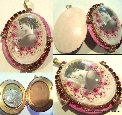Wearable Art Jewelry Edwardian Woman Shabby Pink Roses Pendant Rhinestone Locket