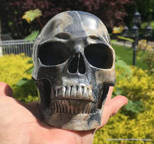 Large Greige & Black Activated Picasso Jasper Crystal Skull Personal Power skull
