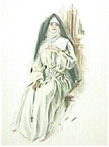 Antique Print Harrison Fisher Victorian Era Nun 1907