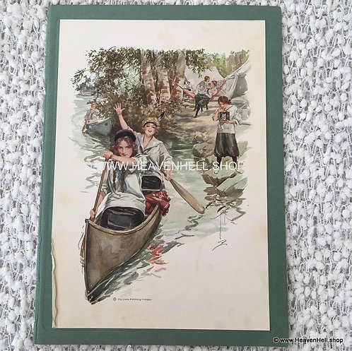 Vintage Prints: Harrison Fisher: Victorian Camp Girls Lake Paddling Their Canoe